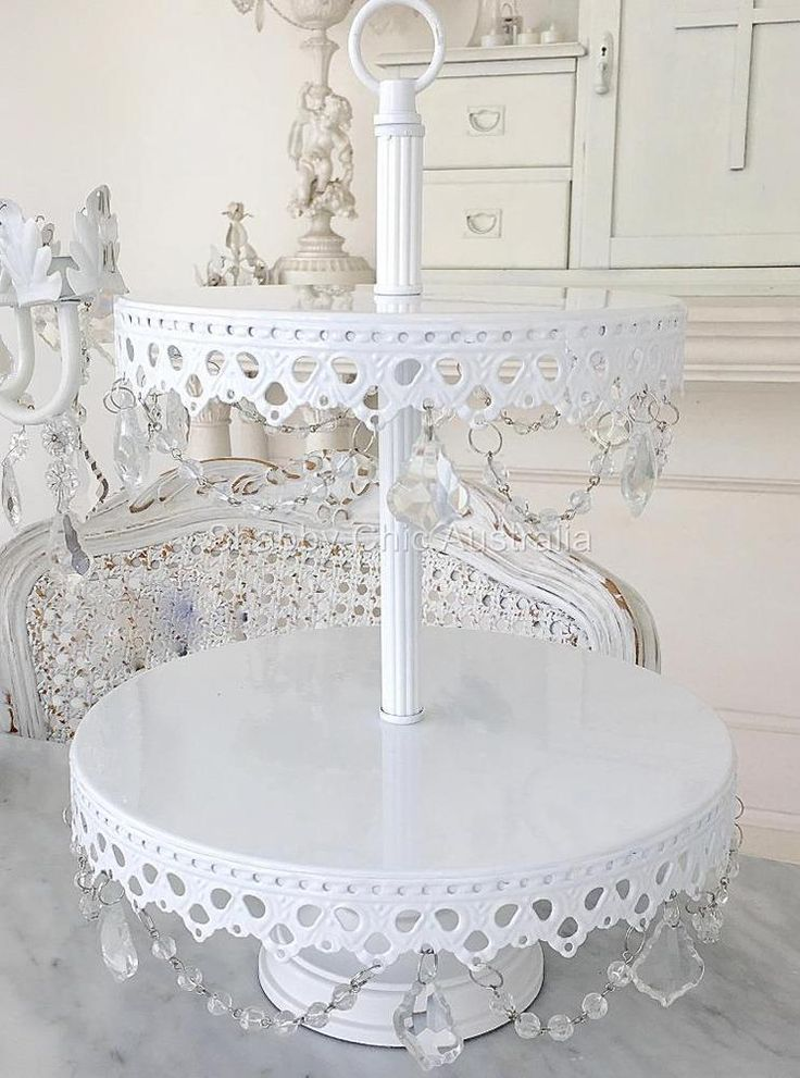 2 Tier Candelabra White Cupcake Wedding Decoraton Cake Christmas Display Stand