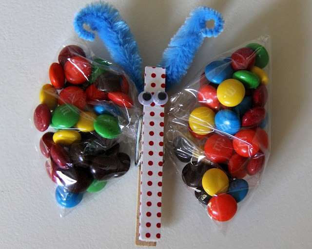Butterfly M+M's Birthday Party Favours you could really put any snack in them.