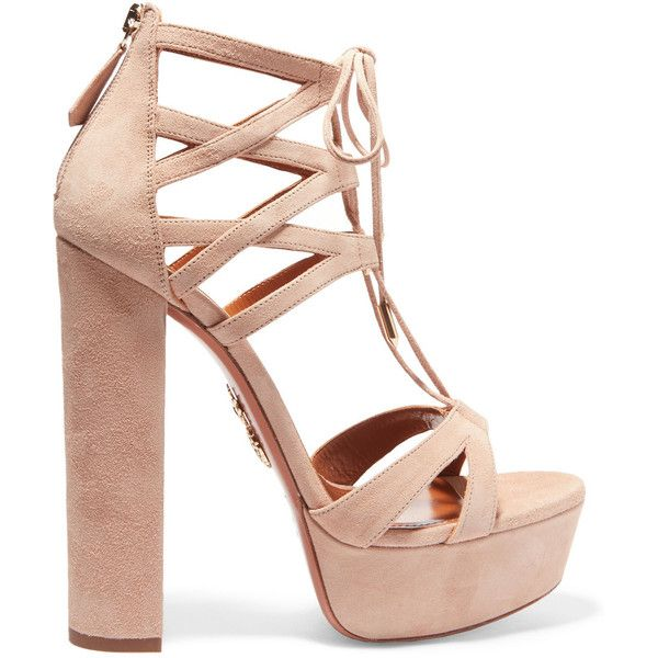 Aquazzura Beverly Hills Plateau suede platform sandals (3,185 SAR) ❤ liked on Polyvore featuring platform sandals, suede leather shoes, high heel platform sandals, beige sandals and suede platform shoes