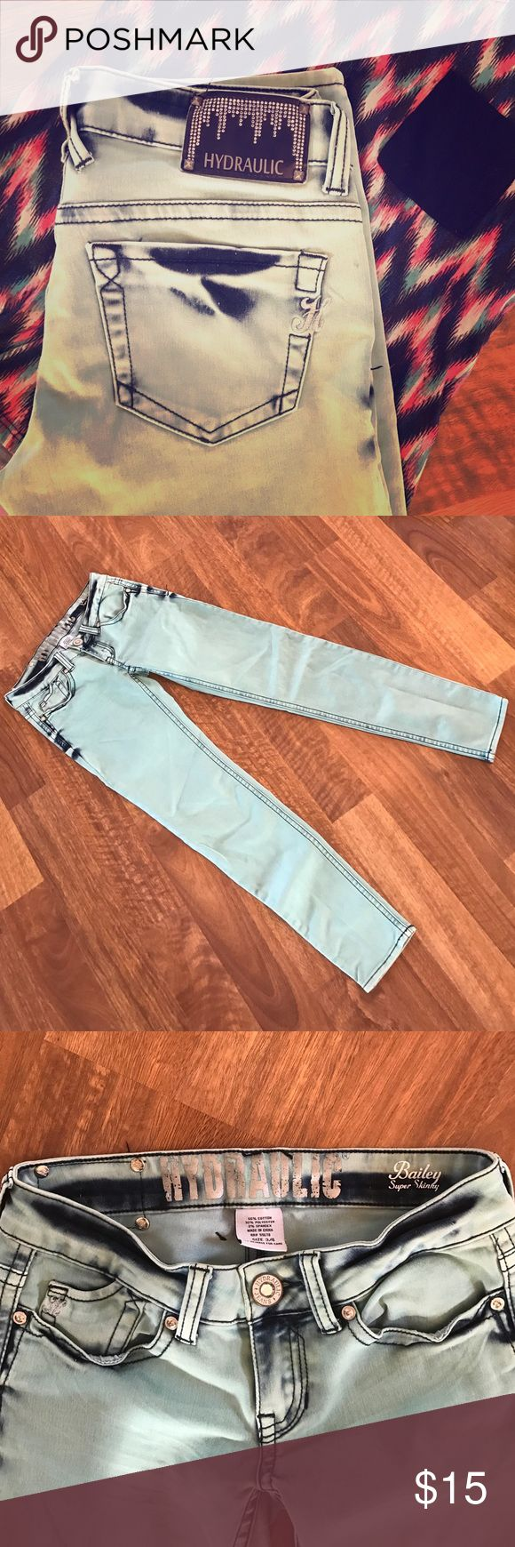 Hydraulic Jeans Absolutely trendy jeans!!! These distressed dyed jeans are mint green, best represented in 2nd pic, w/ jeans blue color dye remaining in darker areas. Great condition. Size 3/4 Hydraulic brand. Love them!!! Bundle and save!!!  Hydraulic Jeans Skinny