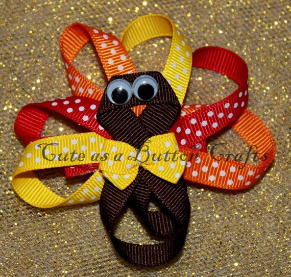 Turkey thanksgiving hair bow Ribbon sculpture by tootoocute4you, $5.50