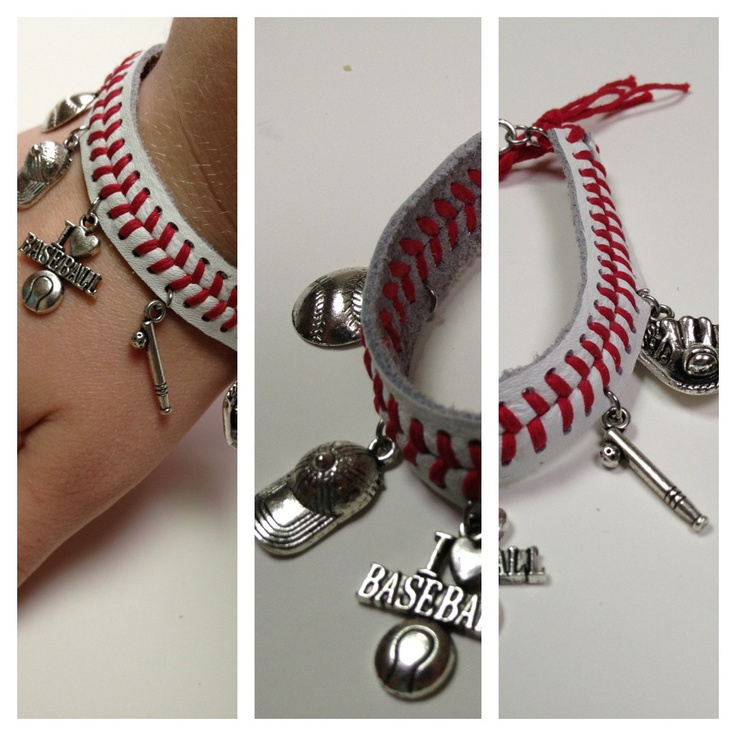 Baseball Bracelet with Charms. $16.00, via Etsy.