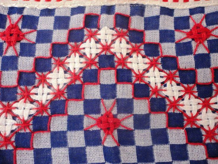Pano de prato com tecido de ótima qualidade,com aplicação de bordado em tecido xadrez e bico de crochê.