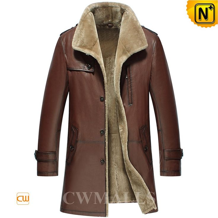 Men's Brown Shearling Trench Coat CW858108 Smart and understated men's shearling…
