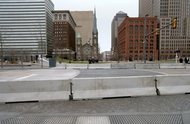 The concrete jersey barriers being used for pedestrian safety in Public square are only temporary, officials say.