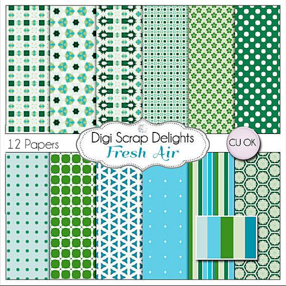 Blue and Green Digital Scrapbook Paper Fresh by DigiScrapDelights