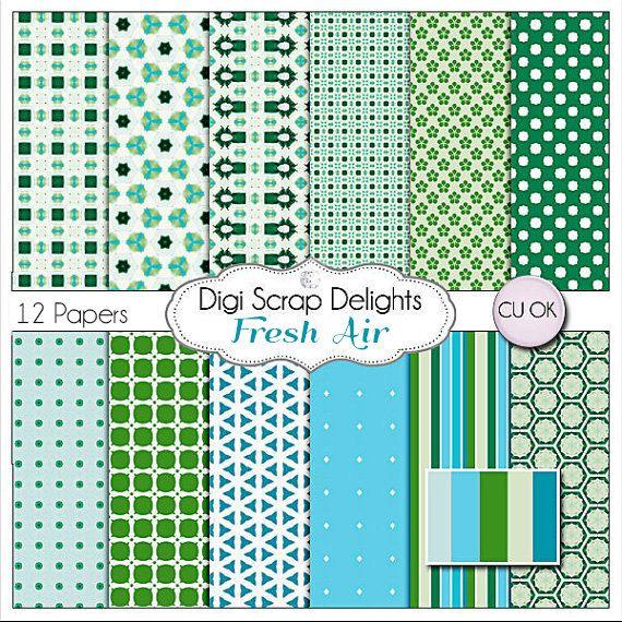 Blue and Green Digital Scrapbook Paper Fresh by DigiScrapDelights: Digital Papers, Digital Scrapbook Paper, Paper Fresh, Green Digital, Blue, Paper Pack, Digital Scrapbooking, With Digital