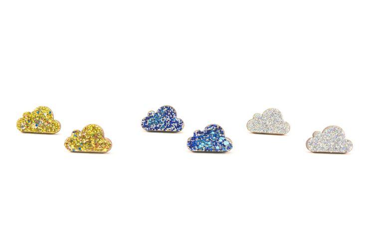 Wooden Stud Earrings | Handmade Painted Glitter Cloud Geometric Shape Earrings