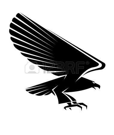 caballero medieval: Negro tatuaje del águila aisladas sobre fondo blanco