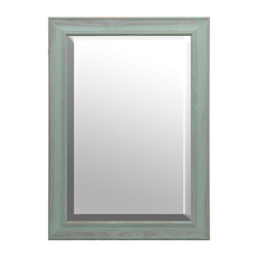 Distressed Teal Framed Mirror 31x43 In