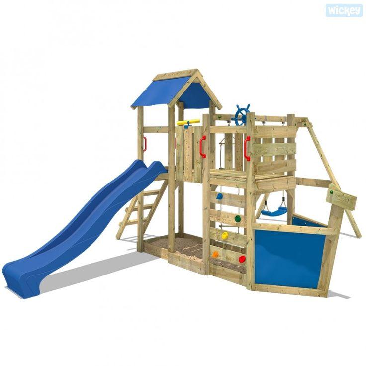 Spielturm Wickey Oceanflyer aus Holz mit Rutsche und Schaukel Azul 503120