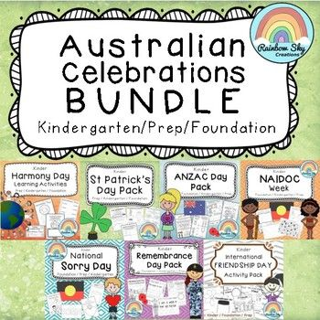 The Ultimate Kinder Australian Celebrations Bundle with activity packs for Harmony Day, ANZAC Day, NAIDOC Week, Sorry Day, Remembrance Day, St Patrick's Day and International Friendship Day Save money and time buying this bundle of Australian Celebrations. #teacherspayteachers #aussieteachers #celebrationresources #tpt