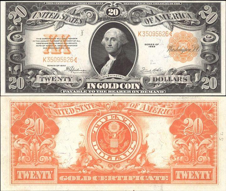 US 20 Dollar  Gold Certificate     Series of 1922     Serial# K35095626     Signatures: Speelman / White  Portrait: George Washington      Eagle - Great Seal