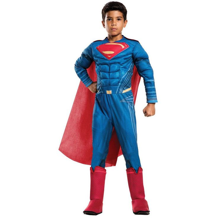 Kids Batman v Superman: Dawn of Justice Deluxe Superman Costume, Boy's, Size: Large, Multicolor