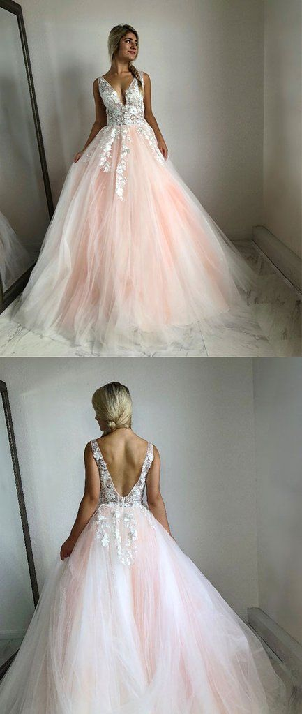Pink v neck tulle lace long prom dress 5eef03bb7