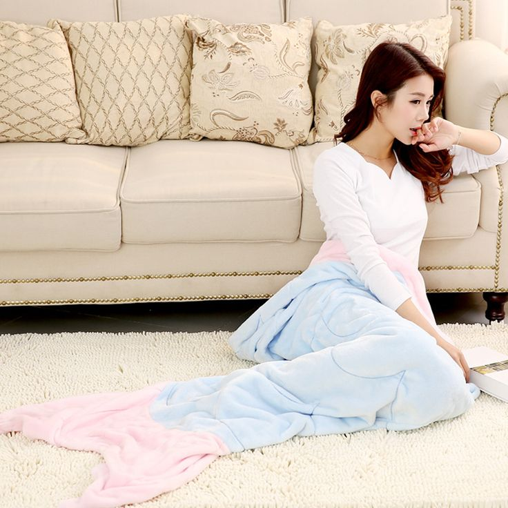 Super Soft Fleece Mermaid Tail Blanket Adult Kids Mermaid Fluffy Blanket On Sofa Bed Warm Wrap Sleeping Bag Blue Pink