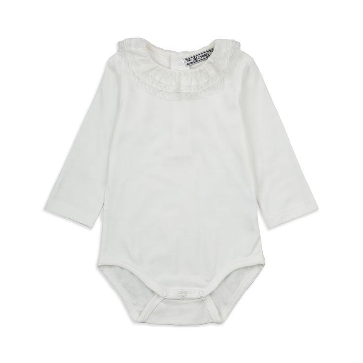 MAYORAL Baby Girls Ruffled Collar Babygrow - White Baby long sleeve bodyvest • Soft cotton jersey • Popper fastenings • Round ruffled neckline • Material: 100% Cotton • Code: MUTA