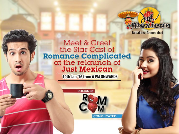 Meet & Greet the Star Cast of the most awaited Urban Gujarati Movie - Romance Complicated at the relaunch of Just Mexican  Venue - 10, GF, Circle B, Opp. Corporate House, Near SG Highway, Judges Bunglow Road, Nyay Marg, Bodakdev, Ahmedabad.  Date & TIme - 10th Jan'16 6pm Onwards #JustMexican #Spreadtheword