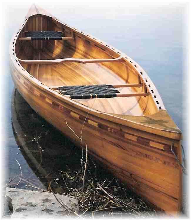 Tandem wood canoe on Missouri river