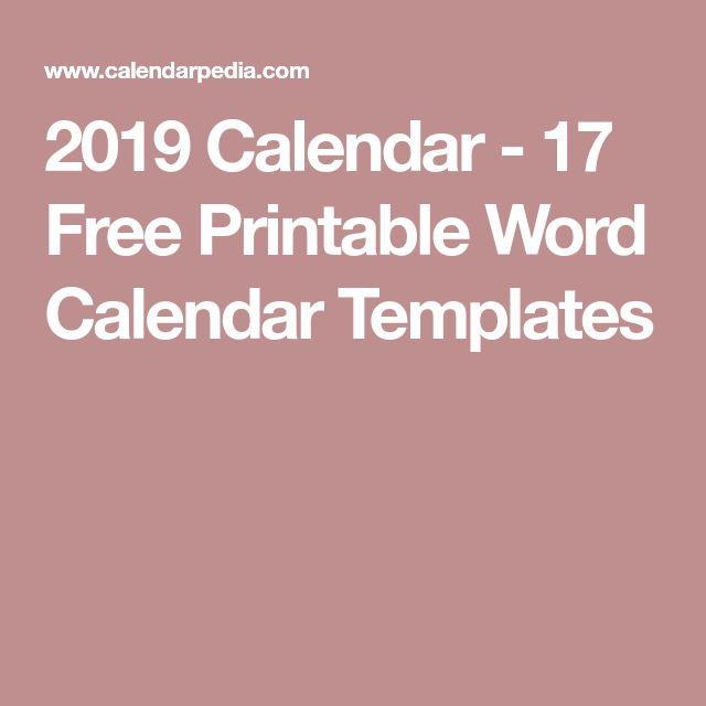 2019 Calendar - 17 Free Printable Word Calendar Templates