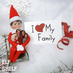 Elf on the Shelf idea - Elf love's his family (hugging picture of family & personal note)