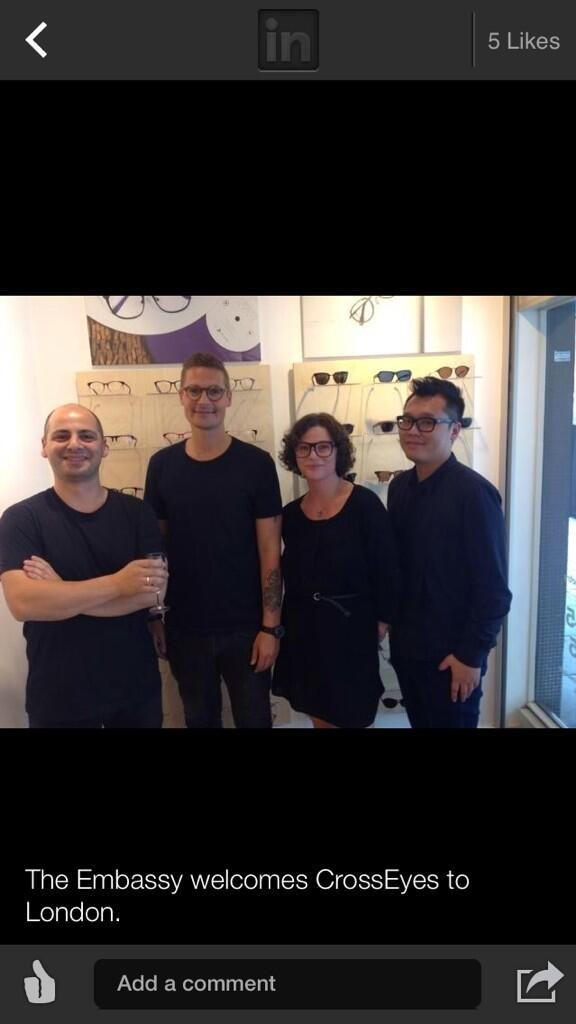 The #Danish #Embassy welcomes #CrossEyes to London   From left: Pan (CrossEyes London), Søren Møller, Founder and CEO of CrossEyes Eyewear (Denmark), Co-Founder Ryan Leung (Hong Kong) and Marianne (CrossEyes London)