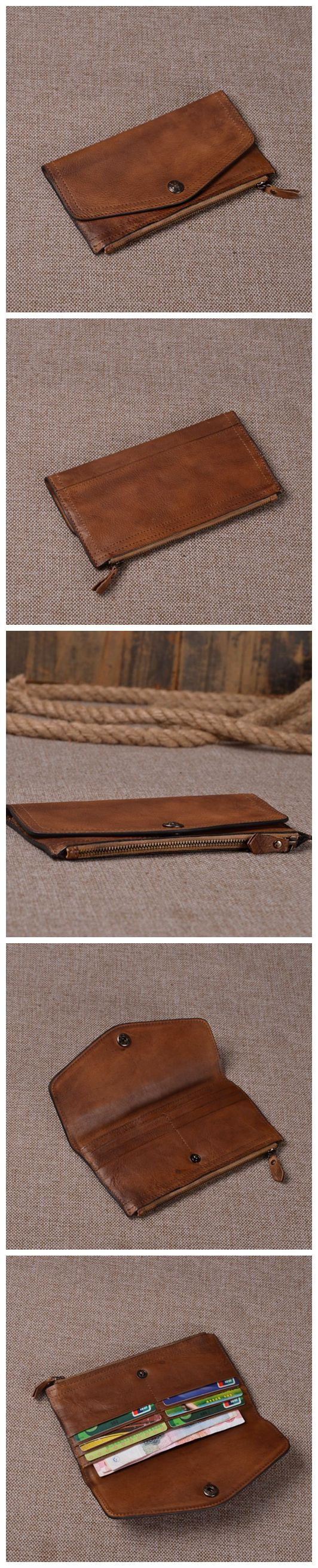 VINTAGE BROWN LEATHER WALLET, WOMEN SHORT PURSE, HANDCRAFTED CARD HOLDER, LEATHER DESIGN, LEATHER CASE, LEATHER ART