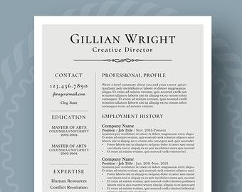 Elegant Resume Template for Word, 1-3 Page Resume + Cover Letter + Reference Page | US Letter | INSTANT DOWNLOAD | Gillian