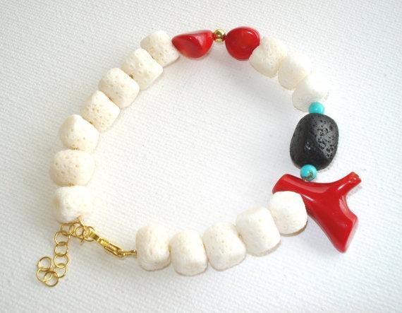 Summer Bracelet white red corals black lava by PenelopeStudio, $36.00