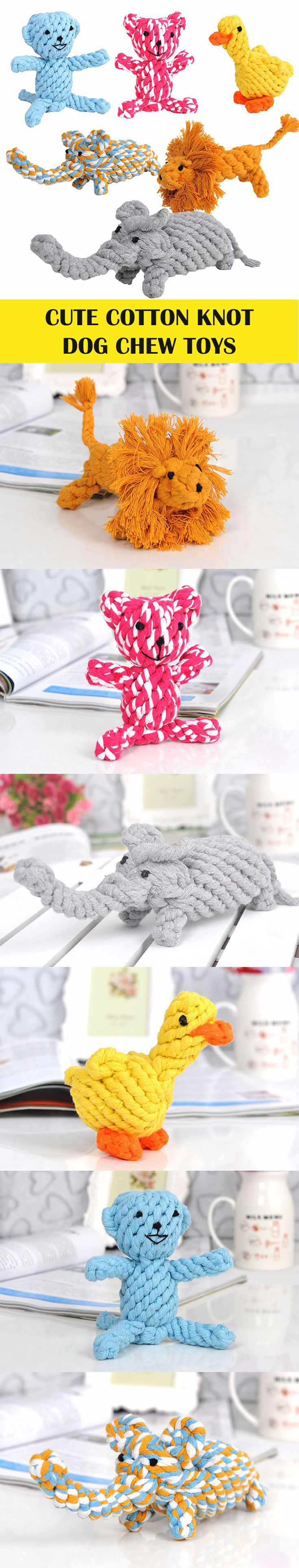 Cute chewing cotton animals for dogs. Lion, bear, elephant, duck, monkey. Knot rope dog toy. Toy for dogs.