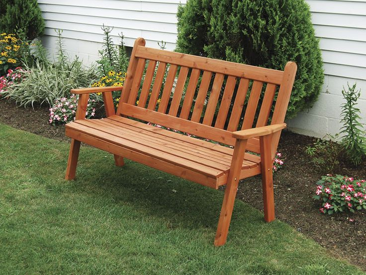 6 outdoor stained cedar garden bench traditional english style great for the garden
