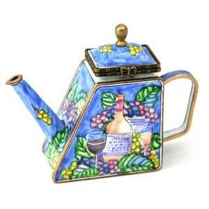 Kelvin Chen #Enameled #Miniature #Tea Pot - Wine & Grape