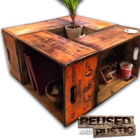 Rustic upcycled cantrell and cochrane crate by for Rustic coffee table with casters
