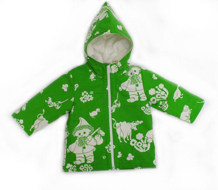 86/92cm Nukkumattitakki vihreä  Childrens jacket made on recycled vintage fabrics.  #retro, #kongaroo, #johnblund