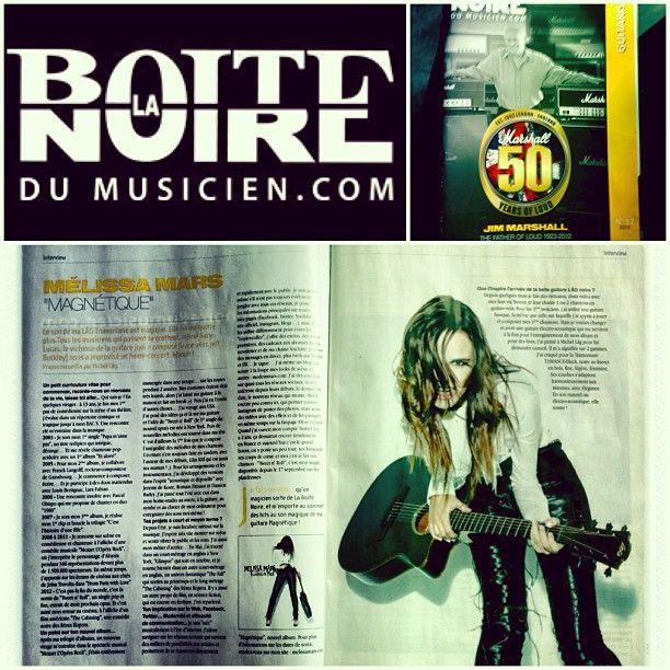 Interview press publication - Magazine LA BOITE NOIRE DU MUSICIEN. 2 pages. Disponible et gratuit ;) dans les magasins de musique en France. #melissamars #guitar #lag #musique #press #publication #interview #ilovemylife #lifeisbeautiful
