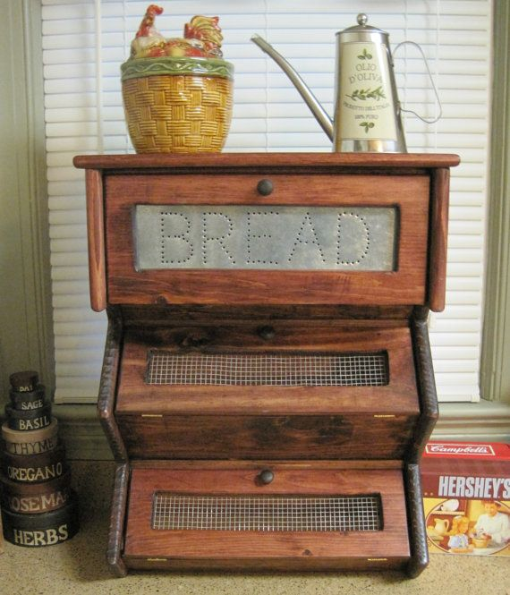 Rustic Bread Box Vegetable Bin Storage Primitive Cupboard
