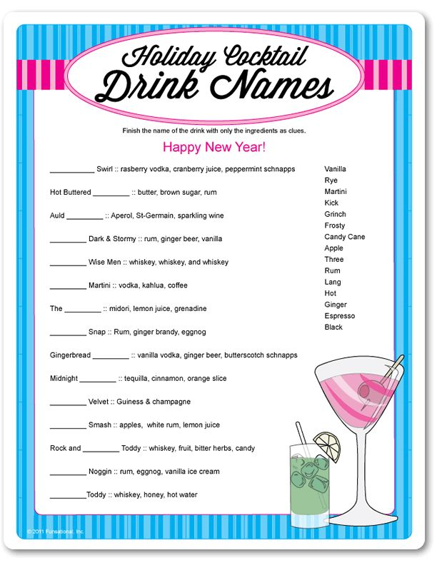 Printable holiday cocktail drink names for Names of mix drinks