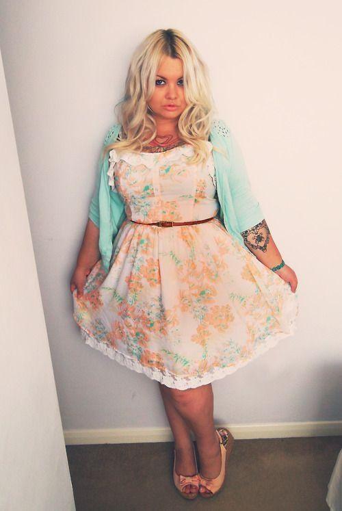 Super cute plus size girl, floral dress, blue