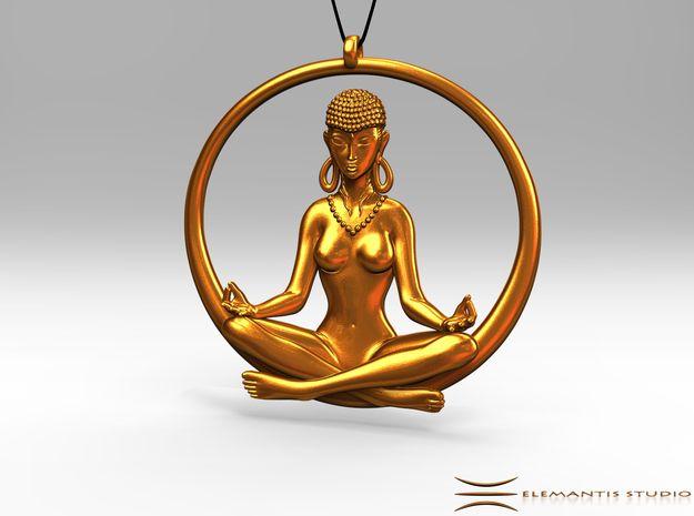 Sukhasana Yogini Pendant 6.5cm in Raw Brass