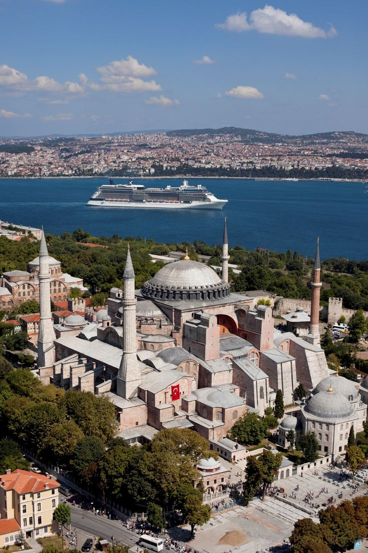 Celebrity Equinox in Istanbul pasisng by Hagia Sofia