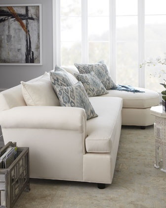 """""""Ellsworth"""" Neutral Two-Piece Sectional by Old Hickory Tannery at Horchow. Love white couches. Could never have one."""
