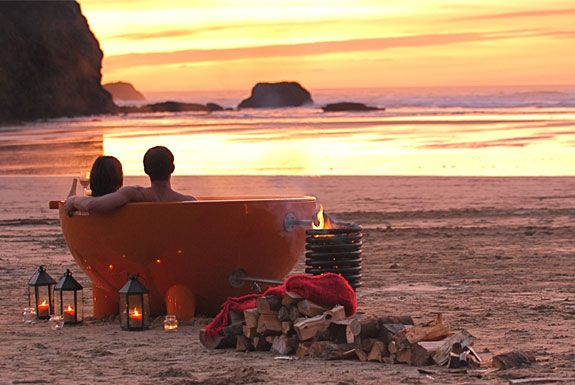 eco-friendly (wood burning fire) portable hot tub