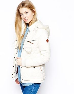 Bellfield+Padded+Jacket+With+Faux+Fur+Hood+And+Pom+Poms