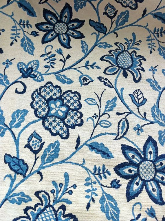Vintage Thermal Drapes Blue Floral Curtains by ArtDecoDame