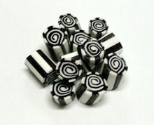 Black and white striped candy, aniseed flavour with black and white swirls in the middle