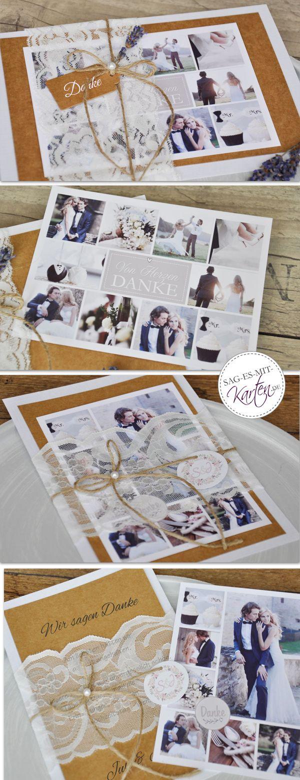 Vintage Dankeskarten Hochzeit Kraftpapier Kordel mit Spitze