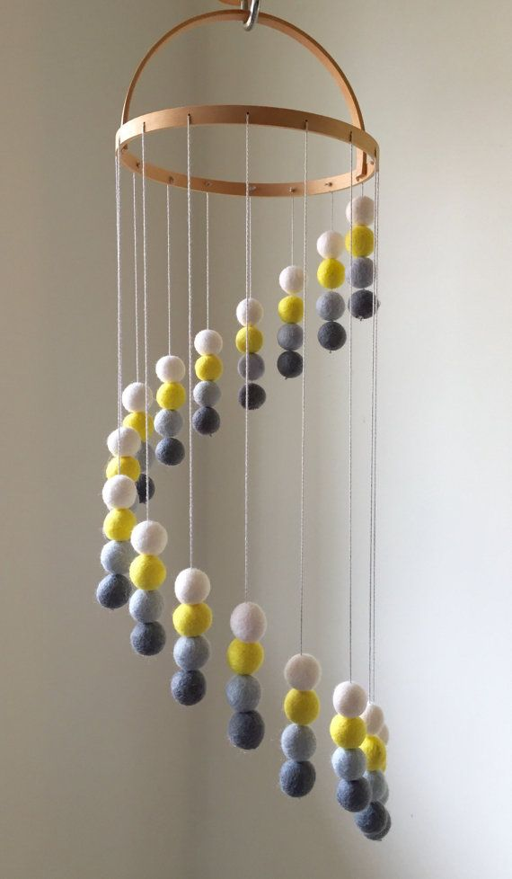 Felt Ball Mobile Baby Mobile Felt Balls Cot by LLcoolHDesigns