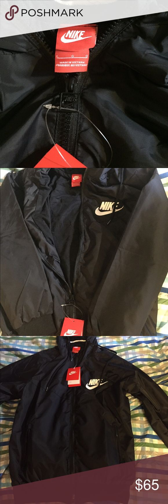 NEW All Black Nike WindBreaker Womens Large, Mens small Nike Tops Sweatshirts & Hoodies