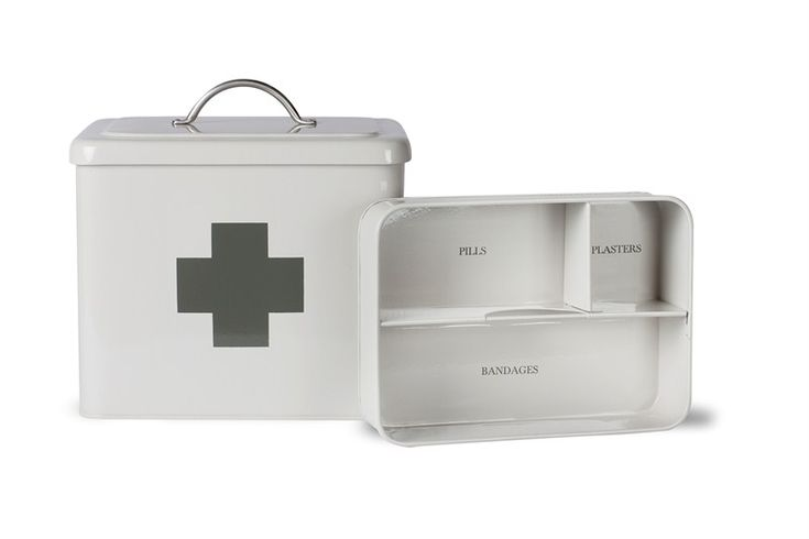 Garden Trading First Aid Box in Chalk Dimensions: H23 x W24 x D19cm  Crafted in Powder Coated Steel  Hinged lid  Lift out inner tray