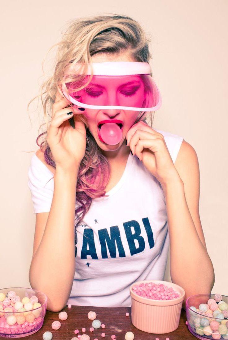 Beautiful girl blowing bubble